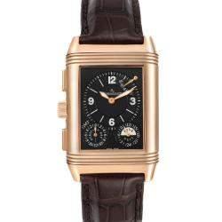 Jaeger LeCoultre Silver 18K Rose Gold Reverso Grande GMT 240.2.18 Q3022420 Women's Wristwatch 46 x 29 MM