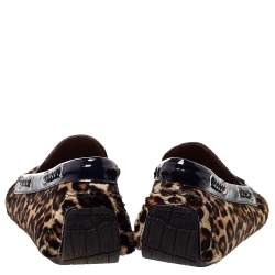 Jimmy Choo Brown Leopard Print Pony Hair And Patent Leather Trim Tassel Slip On Loafers Size 45