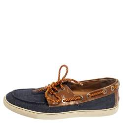 Jimmy Choo Blue/Brown Canvas And Croc Embossed Leather Cheyne Boat Loafers Size 42