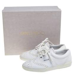 Jimmy Choo White Brogue Leather Brian Sneakers Size 40.5