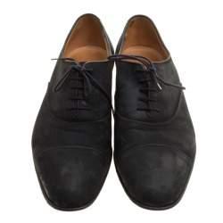 J.M.Weston Black Suede Lace Up Oxfords Size 43