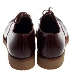 J.M.Weston Burgundy Leather Cap Toe Lace Up Oxford Size 41