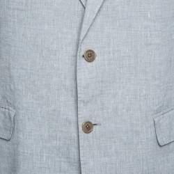 John Varvatos Grey Slub Linen Tailored Blazer XXL