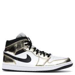 Nike Jordan 1 Mid Metallic Gold Black White Sneakers Size EU 36 US 4Y