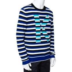 Kenzo French Blue Striped Intarsia Logo Knit Jumper M