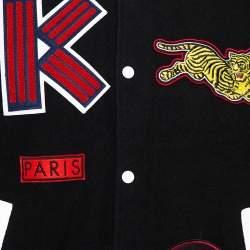 Kenzo Black Wool Blend Logo-Patch Leather Varsity Jacket M