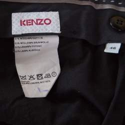 Kenzo Charcoal Grey Patterned Wool Tailored Trousers S