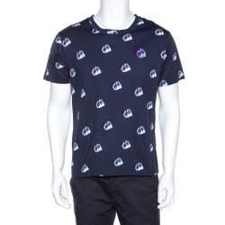 Kenzo Navy Blue Printed Cotton Logo Detail Crew Neck T-Shirt L