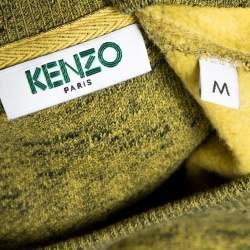 Kenzo Green Knit Tiger Motif Crew Neck Jumper M