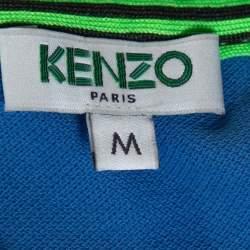Kenzo Blue Tiger Motif Appliqued Cotton Polo T-Shirt M