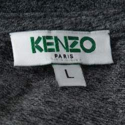 Kenzo Grey Cotton Tiger Print Crew Neck T Shirt L