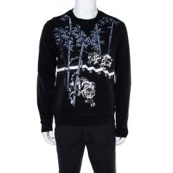Kenzo Black Cotton Bamboo Tiger Embroidered Sweatshirt M
