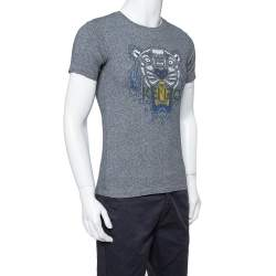 Kenzo Grey Cotton Tiger Print Crewneck T Shirt XS