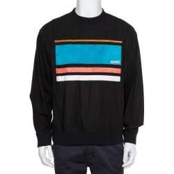 Kenzo Black Cotton Logo Patch Detail Crewneck Sweatshirt L