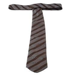 Lanvin Brown and Grey Diagonal Striped Silk Tie