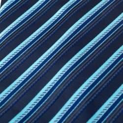 Lanvin Blue Diagonal Striped Silk Traditional Tie