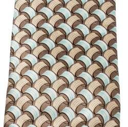 Lanvin Brown and Blue Abstract Print Silk Tie