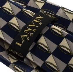 Lanvin Blue Checkered Leaf Print Silk Tie