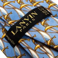 Lanvin Vintage Blue and Gold Dolphin Print Silk Tie