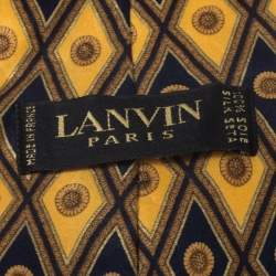 Lanvin Vintage Yellow and Blue Floral Print Silk Tie