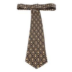 Lanvin Vintage Black & Gold Baroque Print Silk Tie