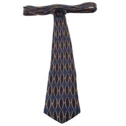 Lanvin Vintage Blue Lattice Motif Print Silk Tie