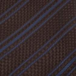 Lanvin Vintage Brown Chequered Jacquard Silk Tie