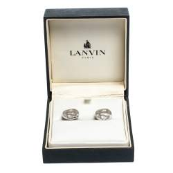 Lanvin Rhodium Plated Embossed Round T-Bar Cufflinks