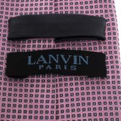 Lanvin Pink Square Patterned Jacquard Silk Tie