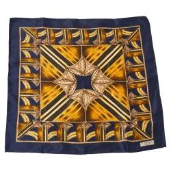 Lanvin Navy Blue Abstract Printed Silk Traditional Tie & Pocket Square