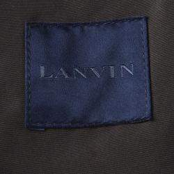 Lanvin Charcoal and Olive Leather Trim Zip Front Hooded Wool Jacket L
