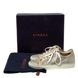 Le Silla Metallic Beige Crystal Embellished Suede Low Top Sneakers Size 41