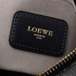 Loewe Grey/Black Coated Canvas and Leather Messenger Bag