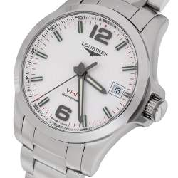 Longines Silver Stainless Steel Conquest V.H.P. L3.716.4.76.6 Men's Wristwatch 41 mm