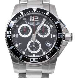 Longines Black Stainless Steel Hydro Conquest L3.643.4.56.6 Men's Wristwatch 41 mm