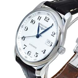 Longines White Stainless Steel Leather Master Collection L2.793.4 Men's Wristwatch 40 MM