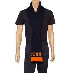 Louis Vuitton Navy Blue & Orange Logo Wool Louis Scarf