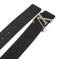 Louis Vuitton Black Mini Damier Suede Initiales Belt 110CM
