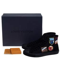 Louis Vuitton Black Canvas And Suede High Top Sneakers Size 44