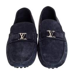 Louis Vuitton Navy Blue Suede Hockenheim Slip On Loafers Size 43.5