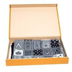 Louis Vuitton Navy Blue Card Monogram Silk Blend Bandana Scarf
