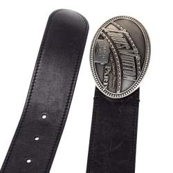 Louis Vuitton Black Leather Articles De Voyage Belt 90CM