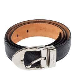 Louis Vuitton Black Taiga Leather Buckle Belt 90CM