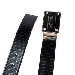 Louis Vuitton Black Damier Embossed Leather Inventeur Belt 95CM