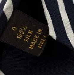 Louis Vuitton Navy Blue & White Striped Silk Tie