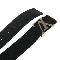 Louis Vuitton Black Mini Damier Suede Initiales Belt 90CM