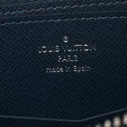 Louis Vuitton Bleu Marine Taiga Leather XL Zippy Stripe Vertical Wallet