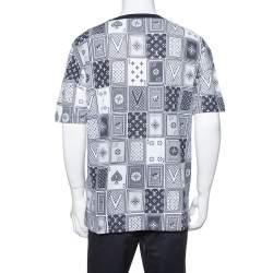 Louis Vuitton Navy Blue Cotton LV Cards Print Back T-Shirt XXL