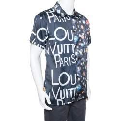 Louis Vuitton Navy Blue Split Hawaiian Galaxy Print Silk Shirt XL