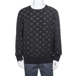 Louis Vuitton Black Knit Drop Needle Monogram Crewneck Sweatshirt XL